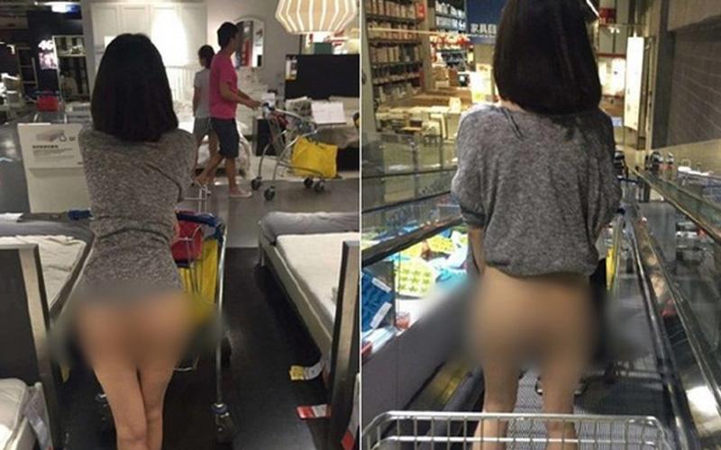 IKEA豪放照瘋傳!「裸腿妹」大露酥胸下半身一絲不掛:是人太騷還是空調太熱